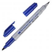 маркер перм. CROWN двойной синий  4мм/2мм